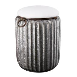 Sale 9140F - Lot 216 - A silver iron storage stool with a white fabric cushion top. Dimensions: W38 x D38 x H51 cm