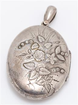 Sale 9180E - Lot 12 - A sterling silver oval locket with floral design to front, Birmingham, Robinson & McKewan (William Robinson & Arthur George McKewan)...
