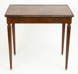 Sale 9150J - Lot 18 - A French burr walnut centre table C: 1920 labelled Speich Freres Paris inside the frieze drawer. The burr walnut top with ebonised s...