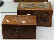 Sale 7969 - Lot 26 - 2 Chinese Carved Camphor Wood Boxes with Contents