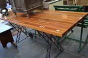 Sale 8013 - Lot 1198 - Timber Trolley Table On Metal Base