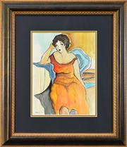 Sale 8113A - Lot 72 - Patricia Govezensky (1961 - ) - Seated Woman (In The Manner Of Tarkay) 31 x 24cm