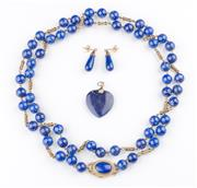 Sale 8369A - Lot 360 - A Lapis lazuli beaded necklace and pendant earrings together with a heart pendant
