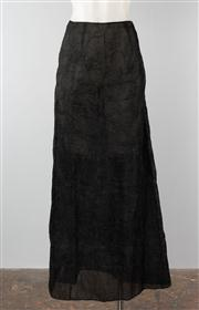 Sale 8740F - Lot 161 - A Collette Dinnigan black silk crush pleated maxi skirt with very subtle stoning and floral embroidery, size L