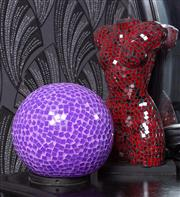 Sale 8761A - Lot 41 - A purple mosaic disco effect lamp of sphere form, 22cm diameter together with a red torso example