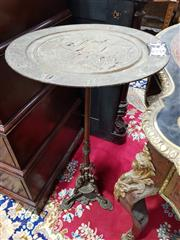 Sale 8774 - Lot 1028 - Victorian Style Cast Iron Occasional Table, the round top cast possibly with Minerva & a group of musicians before a classical city,...