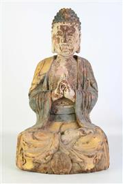 Sale 8913C - Lot 1 - Carved Timber Buddha Seated on a lotus base, H47cm