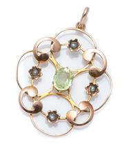 Sale 8974 - Lot 356 - AN EDWARDIAN 9CT ROSE GOLD STONE SET PENDANT; open scrolling frame centring an oval cut green paste to surround of 4 seed pearl set...