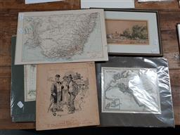 Sale 9130 - Lot 2061 - Quantity of Antique Maps, Botanical Plates, an Engraving of Darling Harbour by Fred B. Schell, an Original Ink Drawing The Reverse...