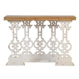 Sale 9140F - Lot 217 - A 3 post console table with intricate scrollwork at the base in a weathered white finish and is made of a mix of MDF & fir wood. Dim...