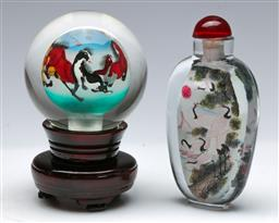 Sale 9164 - Lot 467 - Large inside decorated snuff bottle (L:12cm) and a ball example (H:12cm)