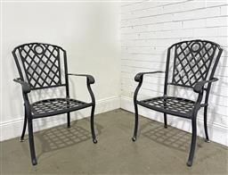 Sale 9188 - Lot 1768 - Pair of outdoor alloy armchairs with lattice design (h97 x d61cm) (some losses) -