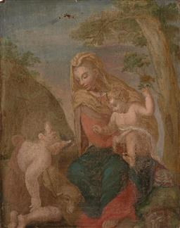 Sale 9244 - Lot 563 - ARTIST UNKNOWN Madonna with Child & Lamb tempera on early C20th walnut panel (unframed) 40.5 x 32 cm unsigned