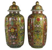 Sale 8048A - Lot 66 - A pair of Oriental polychrome ginger jars with character markings to base, height 49cm