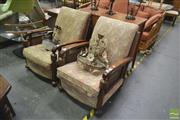 Sale 8257 - Lot 1066 - Pair of Armchairs with rattan sides