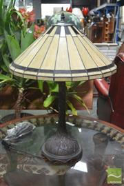 Sale 8262 - Lot 1024 - Pair of Leadlight Shade Table Lamps & Another Larger Example