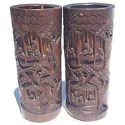 Sale 8268A - Lot 76 - BAMBOO CARVED CHINESE VASES