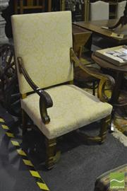 Sale 8305 - Lot 1028 - Oversized Gilded Armchair with Upholstered Back and Seat