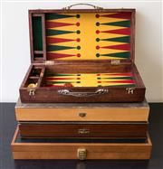 Sale 8310A - Lot 67 - Set of four board games including backgammon, largest W 53cm
