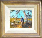 Sale 8309 - Lot 565 - Hugh Sawrey (1919 - 1999) - Boiling the Billy, W.Qld (Swagman Series) 23.5 x 28.5cm