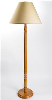 Sale 8350L - Lot 87 - A teak timber turned standing lamp with cream shade, total H 170cm, RRP $ 750