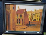 Sale 8587 - Lot 2070 - Artist Unknown - Terrace Houses, oil on board, 35.5 x 45.5cm (frame), signed lower right