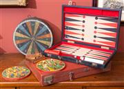 Sale 8625A - Lot 24 - A small group of game related wares including a vintage dartboard, diameter 31cm, boxed colour match game, and two vintage backgammo...