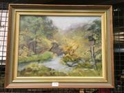 Sale 8659 - Lot 2150 - Jean Lucre - Bushscape with River Scene oil on canvas on board, 40 x 50cm (frame) signed indistinctly lower right