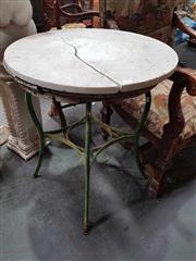 Sale 8925 - Lot 1051 - An aluminium green painted garden table together with another iron example with cracked marblbe top
