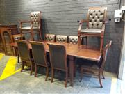 Sale 9014 - Lot 1041 - Contemporary Olivewood Dining Suite, comprising draw-leaf extension table & a set of ten dining chairs, incl. two armchairs, all wit...