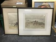 Sale 9045 - Lot 2065 - Tom Carr On the Hills; Gone to the Ground colour etching editions of 45, each 48 x 58cm (frames) and signed (2)