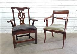 Sale 9126 - Lot 1073 - Two Georgian Armchairs, one Regency mahogany with scrolled arms, green velvet seat & sabre legs, the other country Chippendale style...