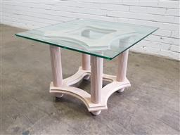 Sale 9151 - Lot 1279 - Glass top occasional table on fluted base (h:58 x w:80 x d:80cm)