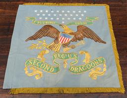 Sale 9160H - Lot 137 - A movie prop flag depicting the American eagle with latin inscription,  on a pale blue  ex Notting hood movie, Robin Hoods men in ti...