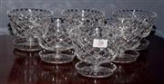 Sale 8127A - Lot 76 - A Set of Six Hand Cut Lead Crystal Dessert Bowls with Spoon Rest Bases,