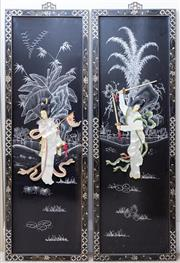 Sale 8593A - Lot 136 - Four Chinese three dimentional panels with figures of ladies in landscape, each H 92 x W 32cm