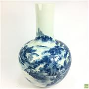 Sale 8648A - Lot 118 - Blue & White Chinese Large Vase with Mountain River Scene - h: 51cm