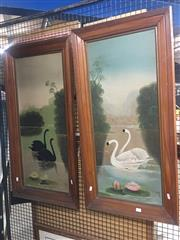 Sale 8751 - Lot 2050 - Two original oil paintings depicting black and white swans, by an unknown artist, 99 x 49cm (frame size), each signed lower right