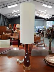 Sale 8782 - Lot 1077 - Teak and Copper Table Lamp with Shade