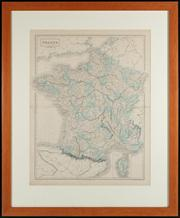 Sale 8844 - Lot 8 - Map of France and Corsica in departments XVI Engraved by S Hall, Bloomsbury and Published by A&C Black Edinburgh. Total frame size...