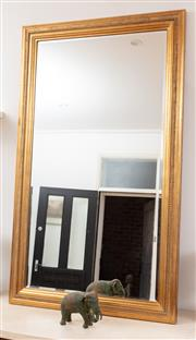 Sale 9070H - Lot 142 - A gilt framed overmantle mirror with bevelled edge glass and beaded border, Height 161cm x Width 95cm