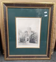 Sale 9065 - Lot 2081 - Set of 6 early engravings of a university campus, frame: 58 x 50 cm each, -