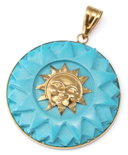 Sale 9124 - Lot 566 - AN 18CT GOLD TURQUOISE PENDANT; 30mm reconstituted turquoise disc centring a sun motif to frame and bale in 18ct gold.