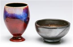 Sale 9185 - Lot 63 - Greg Daly Flambe Glaze Chalice & Brown Glaze Bowl Impressed Mark for Carl McConnell (Dia:13.5cm and 9cm)
