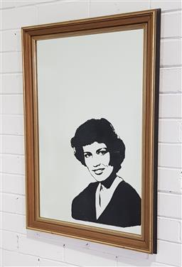 Sale 9188 - Lot 1621 - Timber framed mirror depicting a woman ( 83 x 59cm)