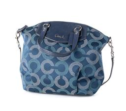 Sale 9221 - Lot 348 - A COACH ASHLEY DOTTED OP ART NORTH/SOUTH SATCHEL BAG; dotted monogram navy blue material with blue leather trim, base, Coach tag, ha...