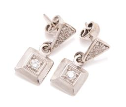 Sale 9260H - Lot 389 - A pair of 14ct white gold diamond earrings; each set with a brilliant cut diamond of approx. 0.10ct in square frame to triangular st...