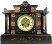 Sale 8065 - Lot 84 - Samuel Marti Slate & Red Verona Marble French Mantle Clock