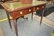 Sale 8267 - Lot 1047 - George III Mahogany Side Table, with later tooled green leather top (loose) , above two drawers with ebony stringing & turned spiral...
