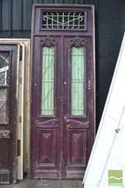 Sale 8326 - Lot 1390 - Pair of Entrance Door with Iron Inserts